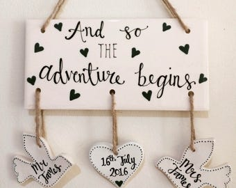 Hand Painted Wedding Gift - Hanging Sign