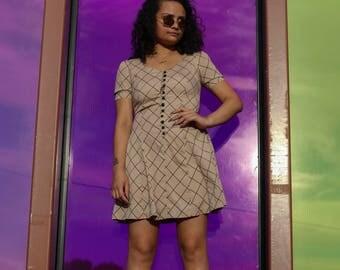90s Beige Button Up Dress