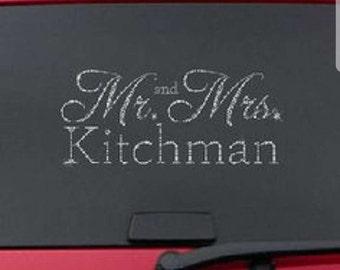 mr and mrs custom window cling