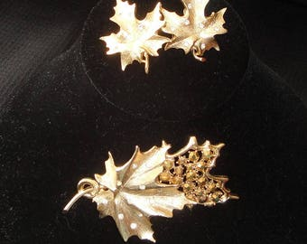 "Sarah Coventry ""Designer's Choice"" Gold Rhinestone Leaf Brooch / Pin and Clip On Earrings Set --      #16"