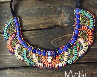 Hand Beaded Necklace, flat laying adjustable