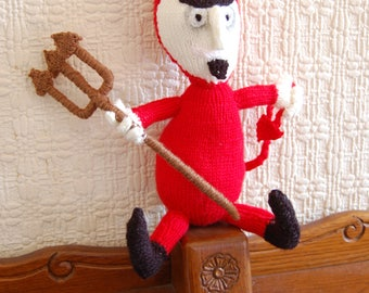 Crafty knitted devil, red knitted devil, naughty knitted devil, wicked little devil, novelty gift, gift for him or her