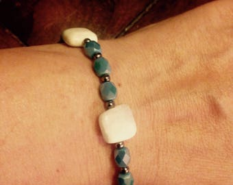 Hand Crafted Blue & Silver Beaded Bracelet