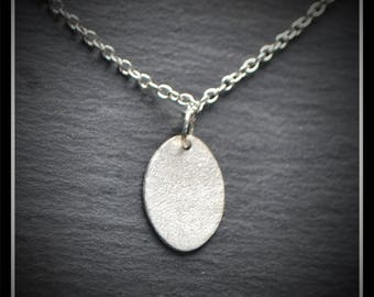 Silver Speckled Oval Pendant - Silver Precious Metal Clay (PMC), Handmade, Necklace - (Produce Code: ACM064-17)