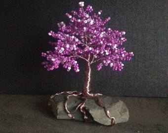 Fantastic small beads tree in violet and rosé Baum bead gift decoration tree of life