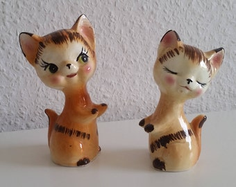 2 cats 60s ceramic cat pair vintage Deco