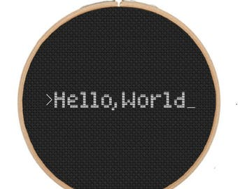 Hello World Cross Stitch Pattern PDF Instant Download