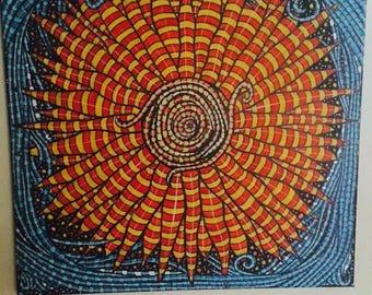 Sun, Zentangle, canvas, 50 x 50 cm, blue, orange,