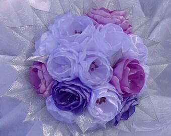 Purple, white wedding bouquet, money/Bridal Bouquet in satin/Wedding Bouquet kanzashi/satin/ribbon satin flowers
