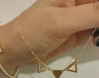 Geometric Necklace, Triangular Pendant, gold filled 14k, Handmade