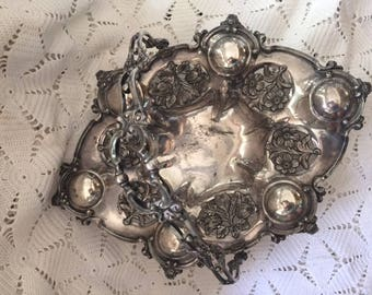 Antique Silver Repousse Basket