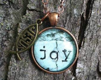 Stamped Joy Pendant Necklace