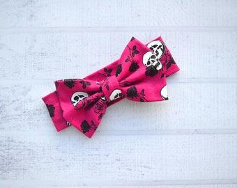 Skulls Baby Girl Bow Headband - Skulls and Roses Headband - Black Rose Bow - Black Rose - Tattoo Skull Bow