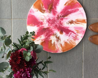 Resin Art Circle - Dark Pink, Light Pink, White, Bronze