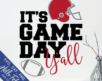 Football Svg, It's Game Day Y'all Svg, Helmet Svg, Y'all Svg, Dxf, Jpg, Svg files for Cricut, Svg files for Silhouette, Vector Art, Clip Art