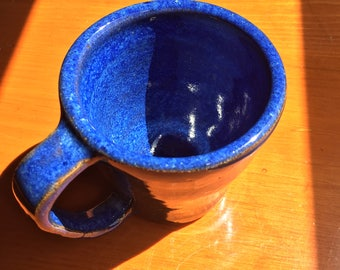 Small Blue Ceramic cup. Stoneware clay. Handmade wheel thrown pottery. Coffee cup.