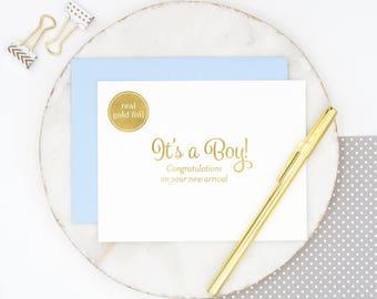 Gold Foil Baby Boy Card, Baby Boy Congratulations Card, Gold Baby Boy Card, Baby Boy Congratulations Card, Gold Foil Baby Boy, New Arrival