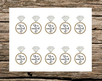 Instant Download - Printable - Bridal Shower Game Prize Tag - You Nailed It - Gold and White
