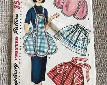 Vintage 1950's Simplicity 4479 Sewing Pattern Women's Apron One Size