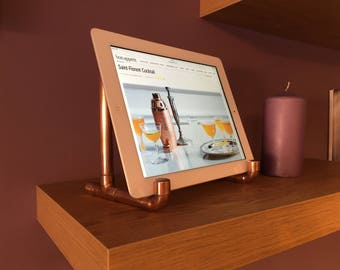 Copper ipad stand, tablet stand, hands-free, made from copper pipe, industrial look