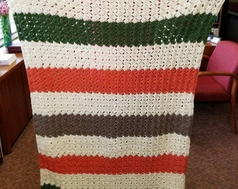 Handmade Crochet Green-Orange-Brown-Cream Striped Afghan