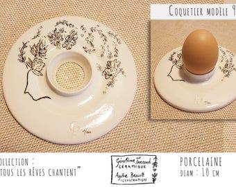 Egg Cup porcelain illustrated, model 9
