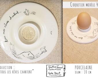 Egg Cup porcelain illustrated, model 4