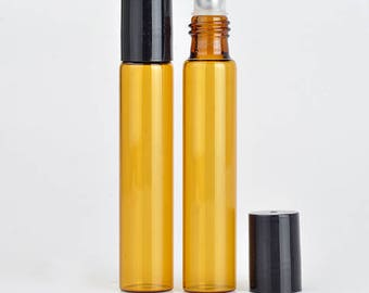 5 x 10ml Amber Glass Roller with Stainless Steel Roller