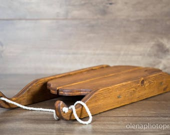Studio photography props. Wooden sled studio photography prop. Children's photography prop.