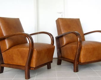 Pair of Art Deco Leather Armchairs, Club Chairs. Vintage 1920s Art Deco Chairs.