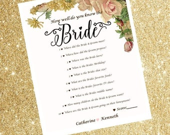Bridal Shower Game - How well do you know the bride?