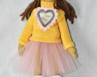Dolly Ariana - handmade collectible doll with a hat and a heart sweater