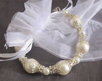 Pearl Bracelet Vintage Style Victorian Silver Filigree, White Or Ivory Pearls, Gift For Mom
