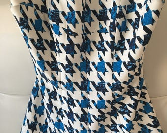 Finder's Keepers patterned, structured blue and white strapless top (small)