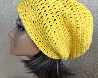 Yellow Slouchy Hat,  Free Shipping,   Slouchy  Beanie,  Boho Hat, Slouchy,  Woman 's. slouchy, lady's Crochet Hat,  Trendy Beanie