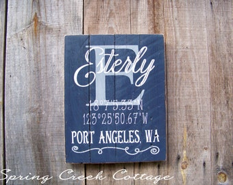 Signs, Custom, Coordinates, Latitude, Longitude, Personalized, Porch Decor, Beach, Nautical, Handpainted, Housewarming Gifts