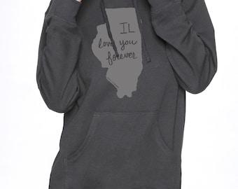 illinois hooded sweatshirt, illinois hoodie, illinois print, longsleeve shirt, gray, unisex hoodie, megan lee designs, free ship