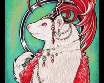 Gigi the Ferret ORIGINAL Illustration Show Girl Performer Burlesque Vegas Teal Green Albino Red Eyes Weasel Costume by Artist Nat L. Ewert
