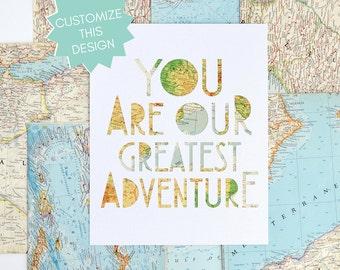 Travel Theme Nursery Art, Nursery Gallery Wall, Playful Modern Nursery Art, You Are Our Greatest Adventure, World Map Artwork