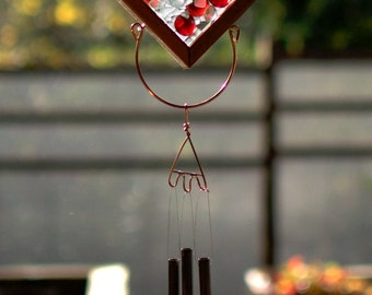 Wind Chime Glass Copper Cedar Outdoor Colorful Windchime