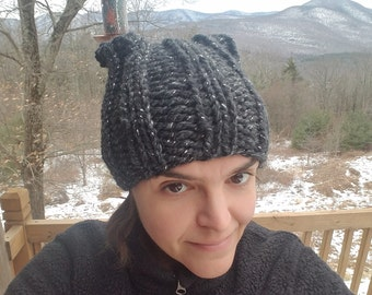Knit Pussy Hat - Grey/Silver, FREE SHIPPING!