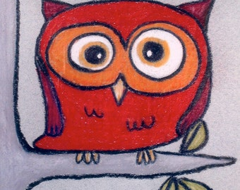 Tiny Red Owl Custom Matted 8 X 10 Print