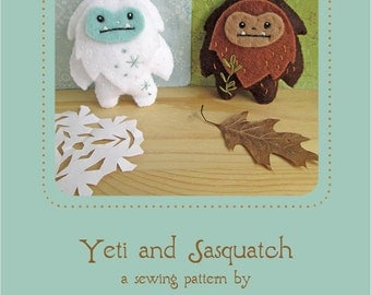 Mini Felt Yeti and Sasquatch plush PDF sewing pattern felt animal patterns ornaments