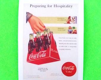 Coca Cola Preparing for Hospitality Six Pack Bottles Coke Vintage Advertising Style Vinyl Sticker