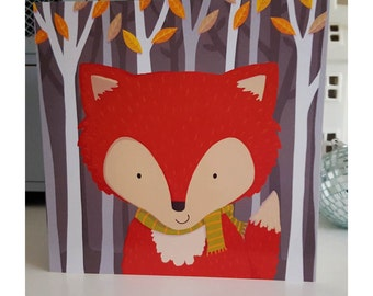 Autumn Fox blank greeting card