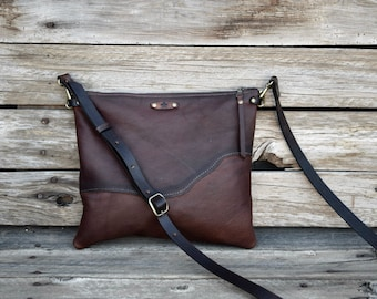 Leather Crossbody Purse / Leather Clutch /  Raw Edge Leather Bag / READY to SHIP / Small Purse /  Zipper Pouch / Convertible Bag