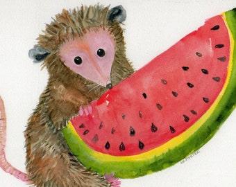 8 x 10 Possum Print of My Original Possum with Watermelon Watercolor Painting, Opossum Art,
