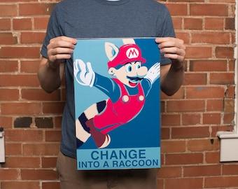 Mario Print | Mario Gift | Mario Raccoon Suit