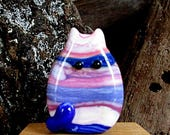 Handmade Lampwork Easter Egg Cat Bead Focal - Nicki FatCat