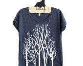 Sale Medium-  Tri-Blend Navy Dolman Tee with Branch Trees Screen Print